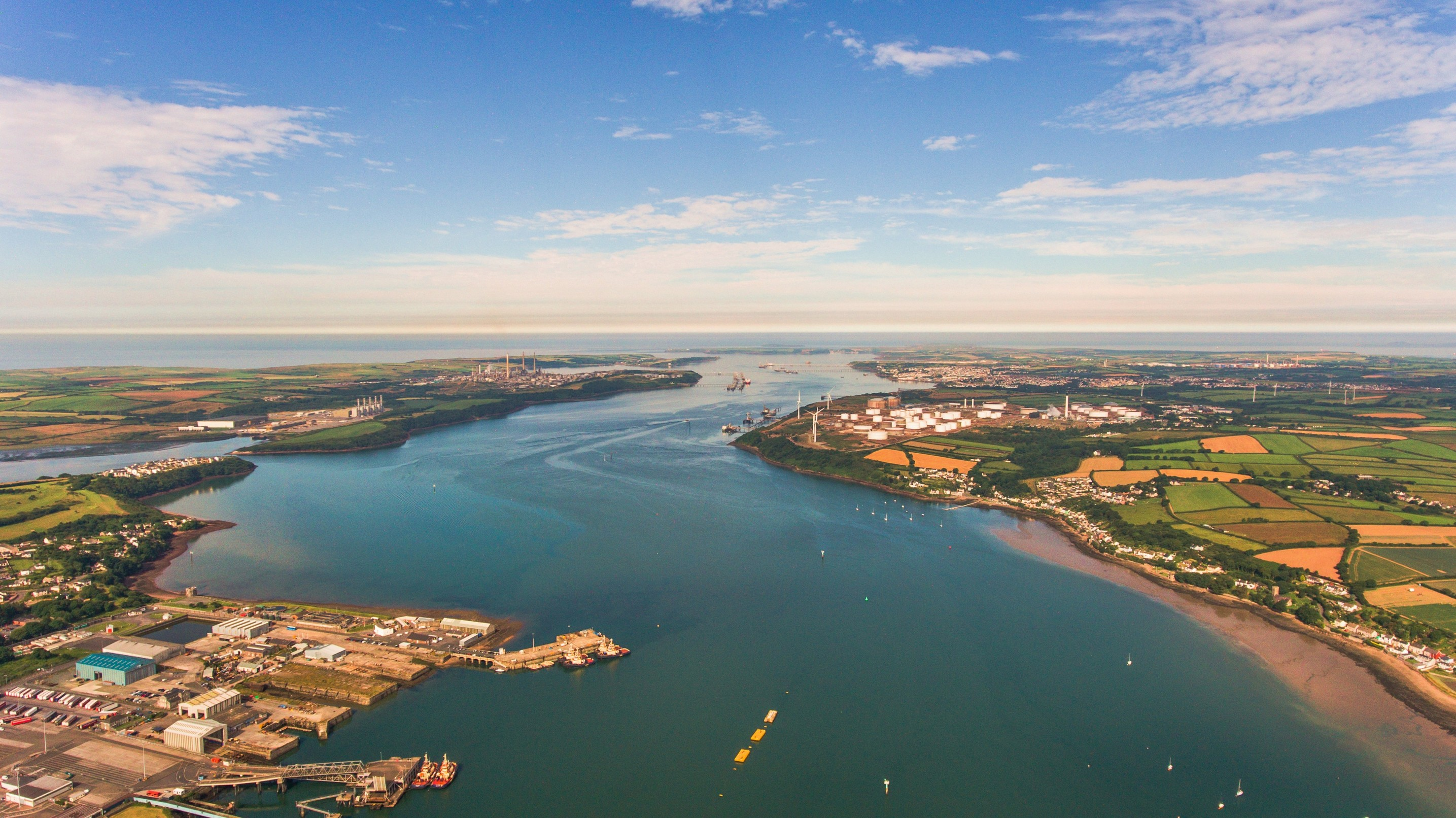 Aerial photo of the Milford Haven Estuary where the META will be developed